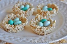 Easter nest made out of rice crispy treats with chocolate eggs!