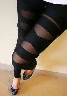 Create an out-of-an-ordinary daytime look with this black cross band leggings. It's sleek fabric is wrapped with a sheer mesh layer that comes with stretchable bands. | Lookbook Store Pants and Leggings