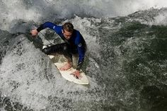 """A little stream called """"Eis Bach"""" in the middle of Munich got strong enough currents for this, so whenever the weather is good enough the Munich surfers meet there. Ballet Shoes, Dance Shoes, Watch V, Munich, Surfing, Middle, Europe, River, Youtube"""