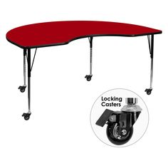 Flash Furniture Mobile 48W x 96L in. Kidney Shaped Activity Table with Standard Adjustable Legs - XU-A4896-KIDNY-RED-T-A-CAS-GG