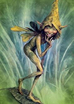 Brian Froud - the man who truly sees the Fae! Art by Brian Froud. Tree-Free Card, printed on Kenaf . Brian Froud, Woodland Creatures, Magical Creatures, Duende Real, Forest Elf, Kobold, Elves And Fairies, Art Sculpture, Mythological Creatures