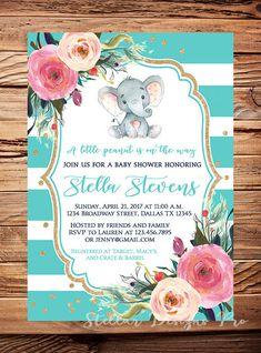 Elephant Baby Shower Invite teal girl baby by StellarDesignsPro