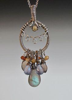 sterling silver necklace featuring Labradorite, blue topaz, smoky quartz, carnelian, citrine  jewelry artist: Martina Svoboda  www.msaly.com