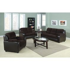 US Pride Furniture Jagger 3-piece Corduroy Fabric and Leather Set (Chocolate Two-tone Sofa Loveseat Chair Set), Brown