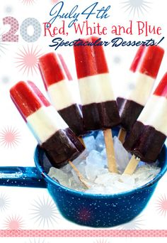 20 GREAT July 4th Red, White and Blue Themed Dessert Recipes | Blogger Round-Up | FamilyFreshCooking.com