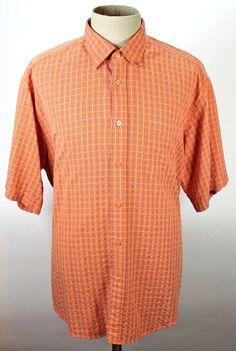 Bugatchi Uomo Shirt size XL Button Front Mens Orange Blue Plaid Rayon Polyester #BugatchiUomo #ButtonFront