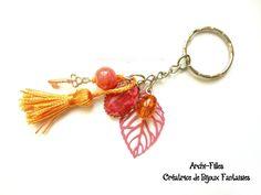 Porte clés Bijou de sac pompon ruban rose perle cœur argent porte