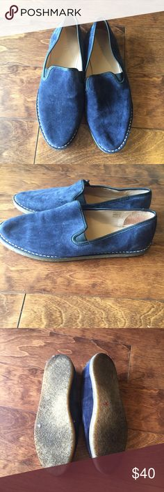 Jcrew blue suede loafers w/stitching around sole Excellent used condition JCrew Shoes