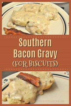 Southern Bacon Gravy (for biscuits)-The Grateful Girl Cooks!- Make thick, creamy Southern BACON Gravy for biscuits- from scratch! Easy to make, and tastes absolutely DELICIOUS!] / The Grateful Girl Cooks! Homemade White Gravy, Homemade Gravy For Biscuits, White Gravy Recipe Easy, Southern Gravy Recipe, Biscuits And Bacon Gravy Recipe, Southern Biscuits And Gravy, Southern Sausage Gravy, Southern Recipes, Homemade Breakfast Gravy Recipe