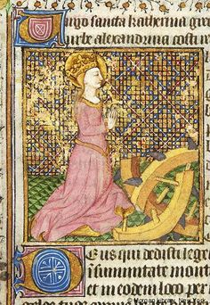 Catherine of Alexandria, wearing crown, with joined hands raised, stands beside broken wheel | Book of Hours | France, Angers or Nantes | ca. 1440 | The Morgan Library & Museum