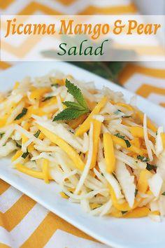 Jicama Mango & Pear Salad via Whole Serving Mango Recipes, Raw Food Recipes, Vegetarian Recipes, Cooking Recipes, Healthy Recipes, Cooking Games, Dessert Recipes, Desserts, Pear Salad