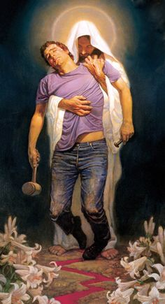 """""""This dramatic mounted print by artist Thomas Blackshear II is inspired by the forgiveness that Jesus brought to all that believe in Him. Depicting the savior supporting a sinner in his despair, it is a powerful depiction of the power of Christ's love. Jesus Art, My Jesus, King Jesus, Thomas Blackshear, Image Jesus, Jesus Christus, Jesus Pictures, Christian Art, Christian Paintings"""