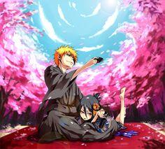 BLEACH, Kuchiki Rukia, Kurosaki Ichigo, Shinigami Uniform, Cherry Tree