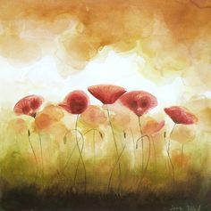 Watercolor Painting  Power of Flower Poppies   Charming by ARTDORA, $59.00