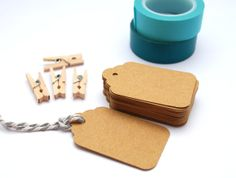Tags 100 Scalloped Small  Brown Kraft  Blank by PaperCottonLove, $10.00 from Melbourne
