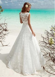 Fabulous Lace V-neck Neckline A-line Wedding Dresses