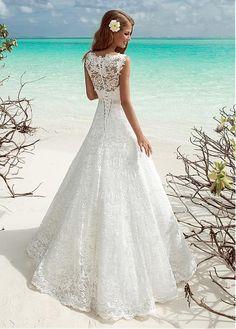 Fabulous Lace V-neck Neckline A-line Wedding Dresses