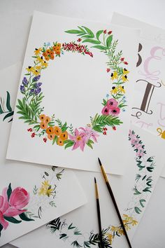 Watercolor floral inspiration inspiration art 水 彩 画, 水 彩, ス ケ ッ チ. Watercolor Cards, Watercolour Painting, Watercolor Flowers, Painting & Drawing, Watercolors, Drawing Flowers, Wreath Watercolor, Watercolor Design, Painting Inspiration