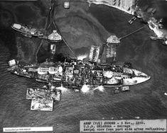 1943 World War 2 Photo-Pearl Harbor-USS Oklahoma Refloats after Japanese Sinking Pearl Harbor 1941, Pearl Harbor Attack, Pearl Harbor Pictures, Majdanek Concentration Camp, Uss Oklahoma, Remember Pearl Harbor, Us Battleships, Uss Arizona, Navy Ships