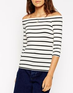 ASOS PETITE Top In Stripe With Bardot Neck And 3/4 Sleeves