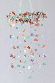 Elephant Nursery Mobile in Aqua Orange Gray & by LoveBugLullabies, $63.00