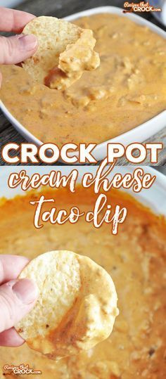 Crock Pot Cream Cheese Taco Dip - Recipes That Crock! Whether you are going to a pitch-in (what us Hoosiers call a potluck) or wanting to add a special dip to Taco Night, this Crock Pot Cream Cheese Taco Dip is sure to be a favorite! Cream Cheese Taco Dip, Cheese Tacos, Cheese Chips, Crock Pot Cheese Dip, Cream Cheeses, Crock Pot Dips, Cream Cheese Recipes Dinner, Dips With Cream Cheese, Cheese Dip Recipes