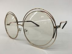 a0f66e01c50 Oversize Retro Vintage Clear Lens Eye Glasses Large Round Silver Gold Frame