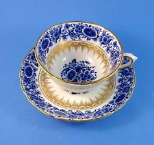 Blue Floral and Gold Desisgn Tuscan Tea Cup and Saucer Set
