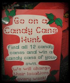 Our vibrant Candy Cane Hunt sign. A brief synopsis of the game in another fun font.