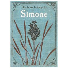 Vintage Blue Flower Personalized Bookplates by oiseaux on Etsy, $16.50
