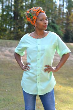 refashion a button down thrift store find into a CUTE DIY top
