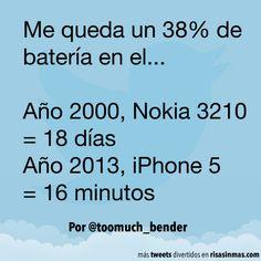Batería en un Nokia y en un iPhone. #humor #risa #graciosas #chistosas #divertidas
