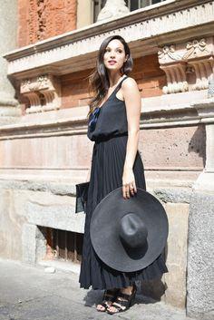 black-maxi-dress-skirt-hat-sandals-summer-party-bbq-work-brunch-shower-hamptons-via-getty