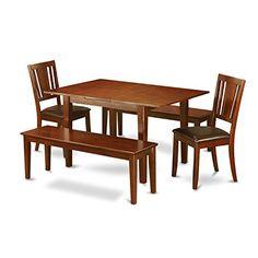 East West Furniture MLDU5D-MAH-LC 5-Piece Kitchen/Dinette Table Set