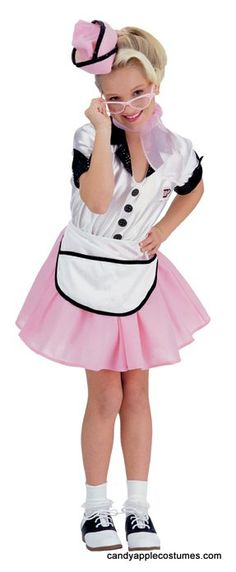 "Serve up some burgers and shakes in this cute child size diner waitress costume! Includes pink and white dress with black trim and ""Ralphie's Sweet Shop logo on front and back, pink cap, and white apron."