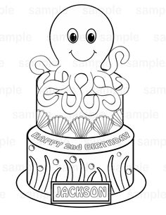 Personalized Printable Octopus Squid Cake Under The Sea Birthday Party Favor Childrens Kids Coloring Page Activity PDF Or JPEG File