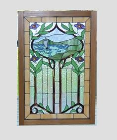 Stained glass panel window sailboat Art Nouveau stained glass window panel wood window hanging large on Etsy, $289.00