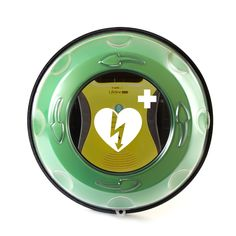 Rotaid AED Wall Cabinet with Defibtech Lifeline inside.