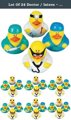 """Lot Of 24 Doctor / Intern ~ Rubber Ducks ~ Ducky Party Favors /Gifts. This Lot of 24 rubber duckys are each dressed as loving caring doctors and or interns. Buyers will receive a random assortment of the four designs shown in the photo, for a total of 24 ducks. These are just adorable. Each ducky measures approx. 2"""" x 2"""". They do not squeak but do have a hole in their beak for squirting water. People of all ages love these Ducks! They do not float upright. These make great little party..."""