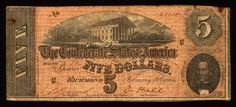 $5 Confederate CSA Currency Type 69, Plate C, printed by Keatinge & Ball Columbia, S.C. Serial Number 23228, in circulated condition, shaved top right edge and small stain or burn mark. Also note is t
