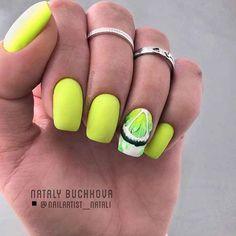 Nail Art Designs and Colors for Summer Summer Nails Neon, Summer Acrylic Nails, Green Nail Art, Green Nails, Manicure Colors, Nail Colors, Swag Nails, My Nails, Matte Nails