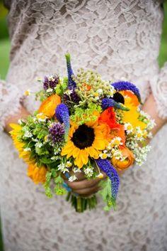 sunflower wedding bouquet 275x412 maryland wedding ceremony ilana dan