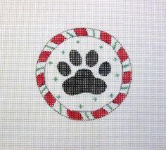 $11.95          Peppermint Candy Cane Ring Dog Paw Print  by MarsyesShoppe on Etsy