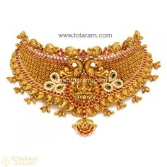 Gold Choker Necklaces for Women - View our collection and buy Online Indian gold choker necklaces for women, made in India - Ships from New Jersey USA - Indian Gold Jewelry - Buy Online Gold Mangalsutra Designs, Gold Earrings Designs, Gold Jewellery Design, Necklace Designs, Gold Jewelry, Handmade Jewellery, Gold Bangles, Silver Bracelets, Gold Chocker Necklace