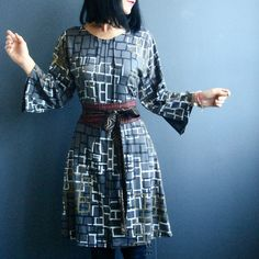 Construction of Light – iheartfink Womens Handmade Geometric Art Print Gray Dress
