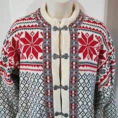 Voss-Norway-Cardigan-Wool-Sweater-Womens-44-L-Mens-48-S-Nordic-Fair-Isle