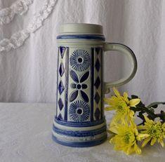 Vintage Gerz Beer Stein Cobalt Blue Salt Glaze Germany Olympics 1972