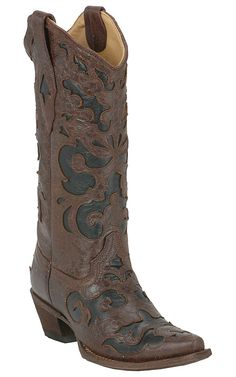 My new boots for the American Royal BBQ.... bought at Nigro's in KC. Corral® Ladies Chocolate Brown with Black Inlay Western Boot