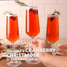 Cranberry Mimosas You can find one of these in our hand from Thanksgiving morning until Christmas Day. Party Drinks, Cocktail Drinks, Fun Drinks, Yummy Drinks, Alcoholic Drinks, Mimosa Cocktail Recipes, Mixed Drinks, Beverages, Christmas Cocktails