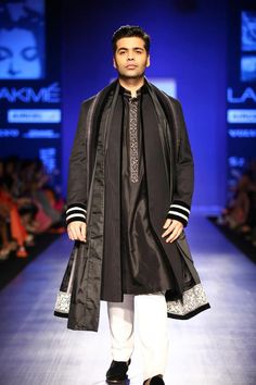 Karan Johar in a Manish Malhotra's sherwani Diwali Dresses, Diwali Outfits, Wedding Outfits For Groom, Wedding Dress Men, Lakme Fashion Week, India Fashion, Mens Fashion, Saris, Groom Outfit Inspiration